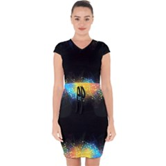 Frame Border Feathery Blurs Design Capsleeve Drawstring Dress