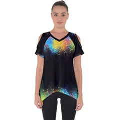 Frame Border Feathery Blurs Design Cut Out Side Drop Tee