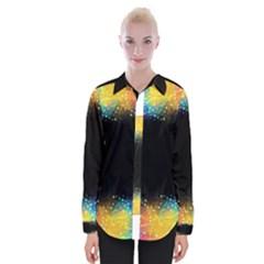 Frame Border Feathery Blurs Design Womens Long Sleeve Shirt