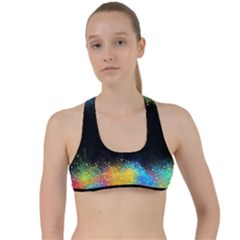 Frame Border Feathery Blurs Design Criss Cross Racerback Sports Bra