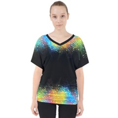 Frame Border Feathery Blurs Design V Neck Dolman Drape Top