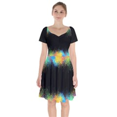 Frame Border Feathery Blurs Design Short Sleeve Bardot Dress