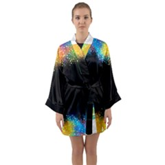 Frame Border Feathery Blurs Design Long Sleeve Kimono Robe