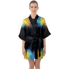 Frame Border Feathery Blurs Design Quarter Sleeve Kimono Robe