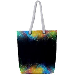 Frame Border Feathery Blurs Design Full Print Rope Handle Tote (small)