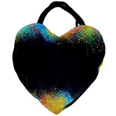 Frame Border Feathery Blurs Design Giant Heart Shaped Tote