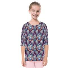 Seamless Pattern Pattern Kids  Quarter Sleeve Raglan Tee