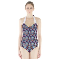 Seamless Pattern Pattern Halter Swimsuit