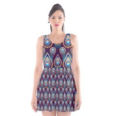 Seamless Pattern Pattern Scoop Neck Skater Dress
