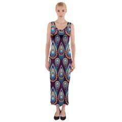 Seamless Pattern Pattern Fitted Maxi Dress