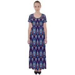 Seamless Pattern Pattern High Waist Short Sleeve Maxi Dress