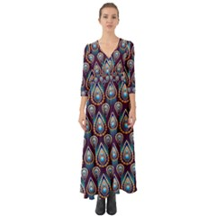 Seamless Pattern Pattern Button Up Boho Maxi Dress