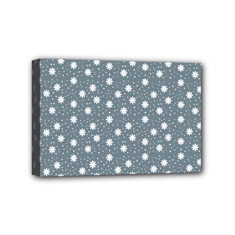 Floral Dots Blue Mini Canvas 6  X 4