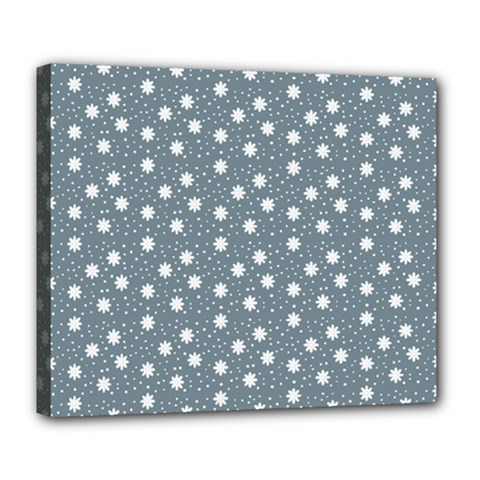 Floral Dots Blue Deluxe Canvas 24  X 20