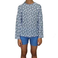 Floral Dots Blue Kids  Long Sleeve Swimwear