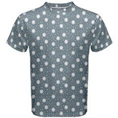 Floral Dots Blue Men s Cotton Tee