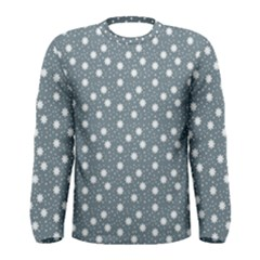 Floral Dots Blue Men s Long Sleeve Tee