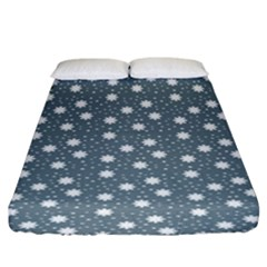 Floral Dots Blue Fitted Sheet (king Size)