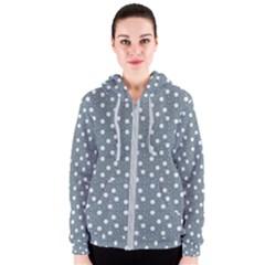 Floral Dots Blue Women s Zipper Hoodie