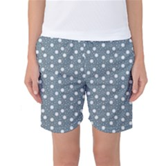 Floral Dots Blue Women s Basketball Shorts