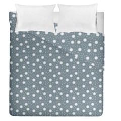 Floral Dots Blue Duvet Cover Double Side (queen Size)
