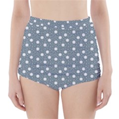 Floral Dots Blue High Waisted Bikini Bottoms