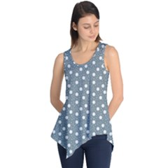 Floral Dots Blue Sleeveless Tunic