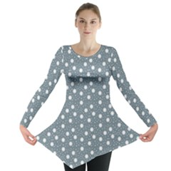 Floral Dots Blue Long Sleeve Tunic