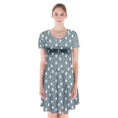 Floral Dots Blue Short Sleeve V Neck Flare Dress