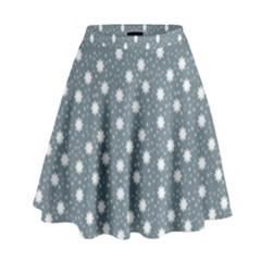 Floral Dots Blue High Waist Skirt