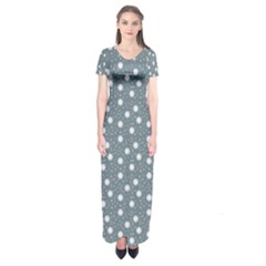Floral Dots Blue Short Sleeve Maxi Dress