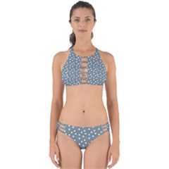 Floral Dots Blue Perfectly Cut Out Bikini Set