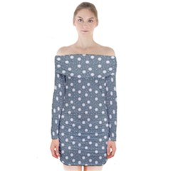 Floral Dots Blue Long Sleeve Off Shoulder Dress