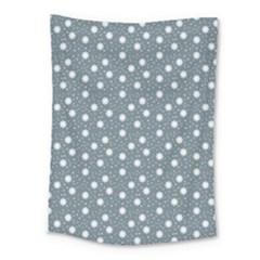 Floral Dots Blue Medium Tapestry