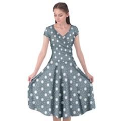 Floral Dots Blue Cap Sleeve Wrap Front Dress