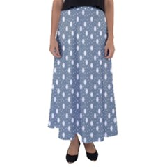 Floral Dots Blue Flared Maxi Skirt