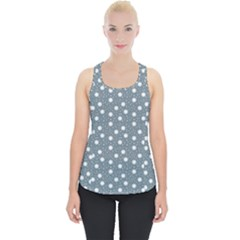 Floral Dots Blue Piece Up Tank Top