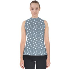 Floral Dots Blue Shell Top