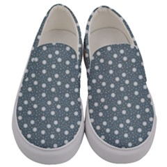 Floral Dots Blue Men s Canvas Slip Ons