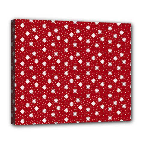 Floral Dots Red Deluxe Canvas 24  X 20