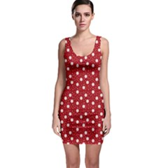 Floral Dots Red Bodycon Dress