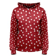 Floral Dots Red Women s Pullover Hoodie