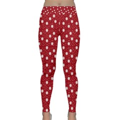 Floral Dots Red Classic Yoga Leggings
