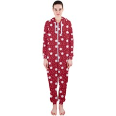 Floral Dots Red Hooded Jumpsuit (ladies)