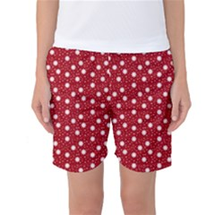 Floral Dots Red Women s Basketball Shorts