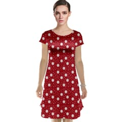 Floral Dots Red Cap Sleeve Nightdress