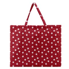 Floral Dots Red Zipper Large Tote Bag