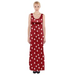Floral Dots Red Maxi Thigh Split Dress