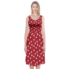 Floral Dots Red Midi Sleeveless Dress