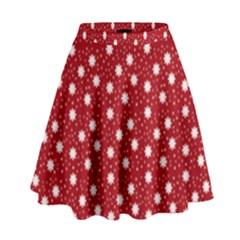 Floral Dots Red High Waist Skirt